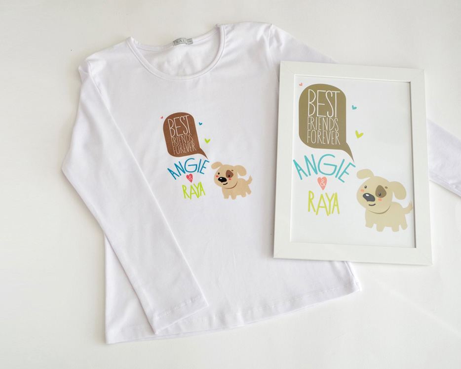 Best Friends рамка и детска тениска за момичета