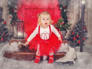 Червена туту пола с бели точки за момиченца