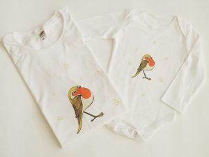 Червеношийка блузка за мама и бебе