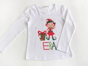 Коледен елф блузка за деца в червено и зелено