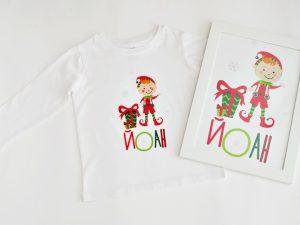 Коледна персонализирана блузка за момчета с елф