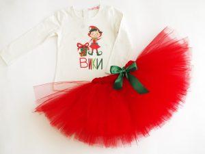 Персонализиране Коледен туту комплект с Елф за момичета