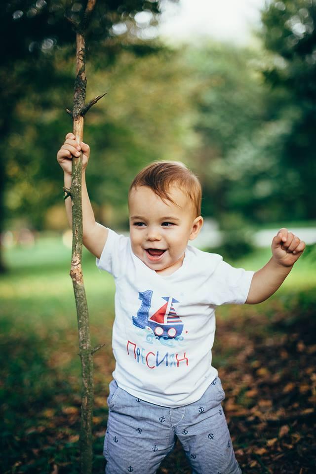 Син параход - персонализирана блузка за момчета