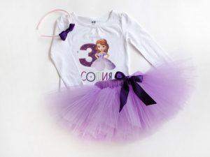 Туту комплект принцеса София в лила