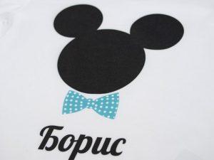 Мики Маус - блузка за момчета с надпис - детайл
