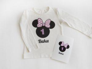 Мини маус блуза с надпис за рожден ден в лилаво