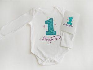 Персонализирана тениска за рожден ден или боди с лилави сърца