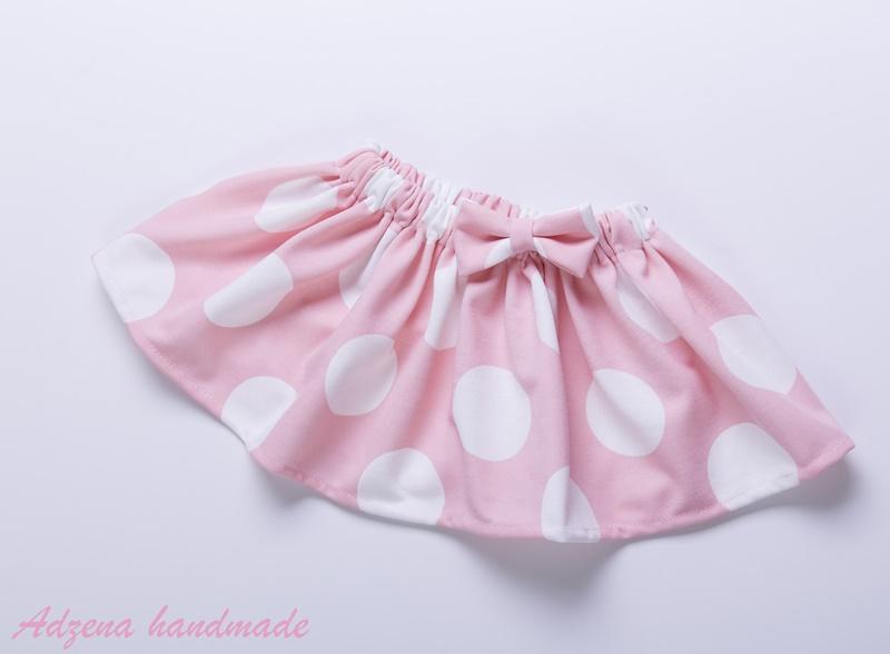 Детска пола на точки в розово и бяло