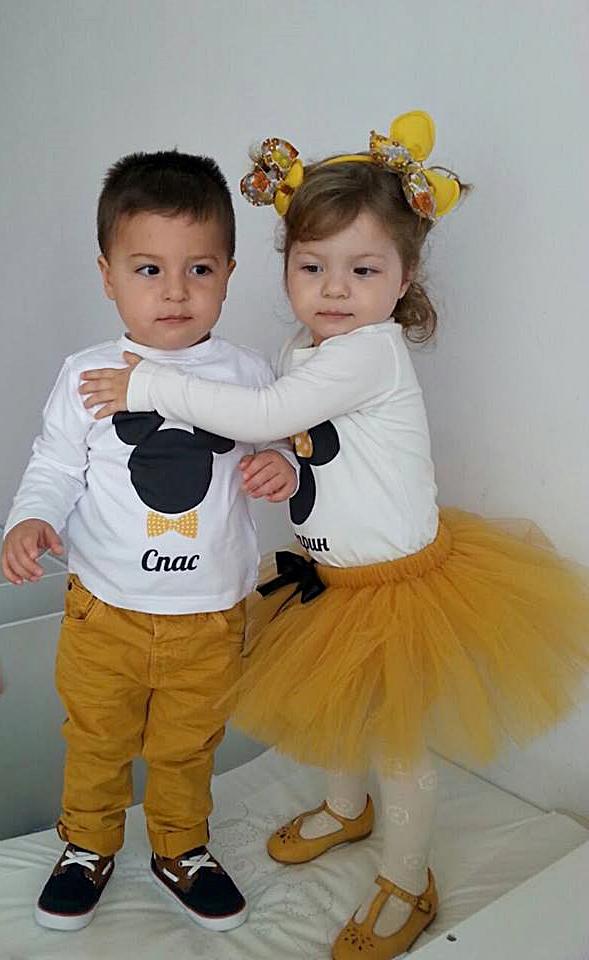 Блузки за брат и сестра с Minnie и Mickey Mouse