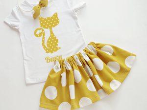 Детски комплект Коте на точки в жълто