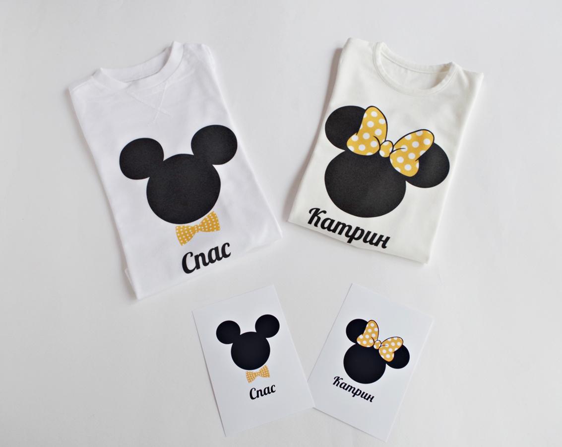 Мини и Мики Маус комплект блузки за братя и сестри в жълто