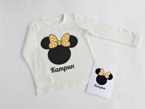 Персонализирана детска блуза с име Мини Маус в жълто