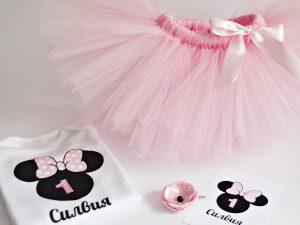Туту комплект Мини Маус в бледо розово