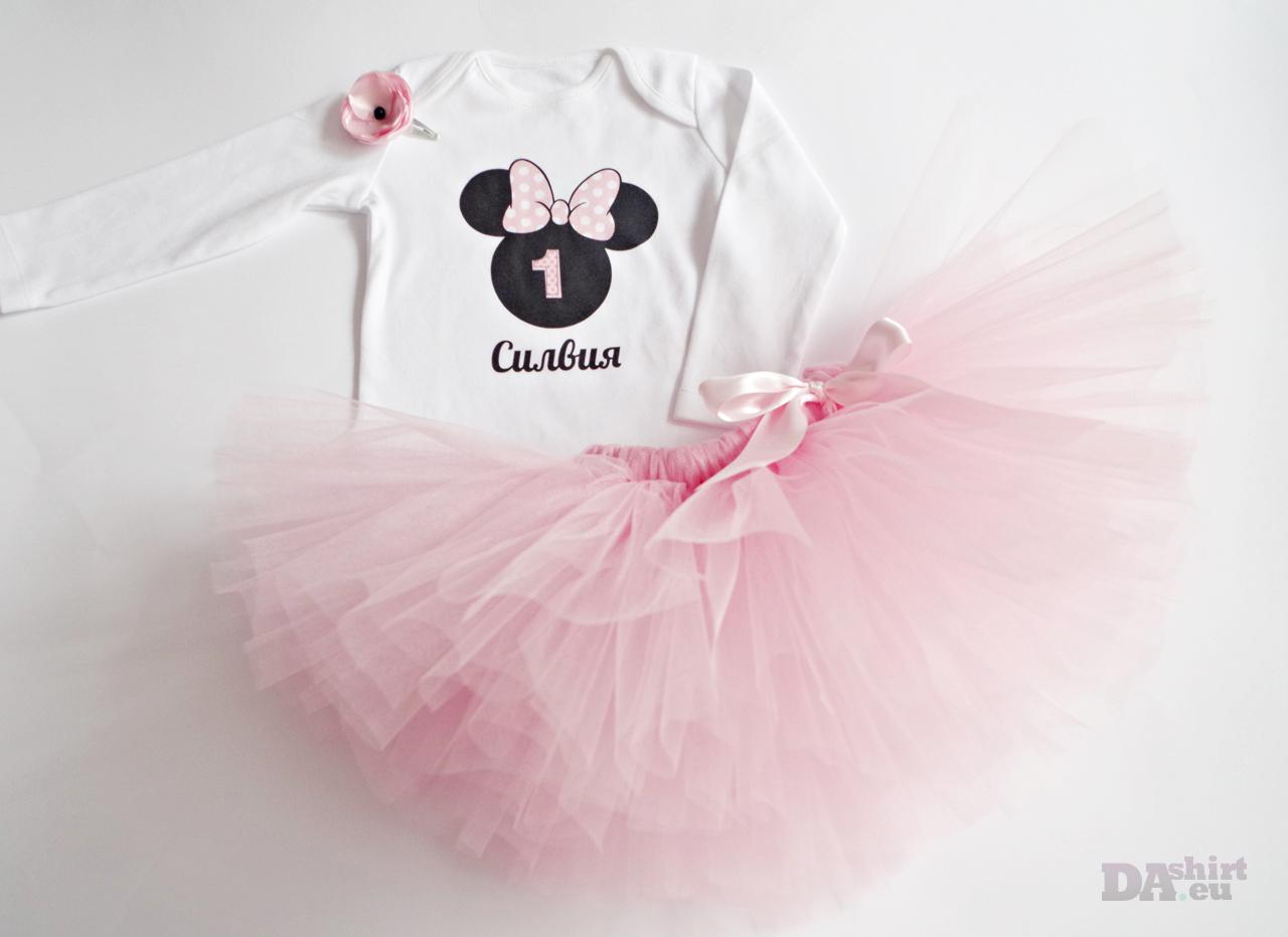 Туту сет за рожден ден Minnie Mouse бледо розово