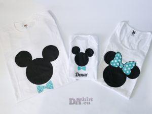 Семейни тениски Мини и Мики Маус в синьо
