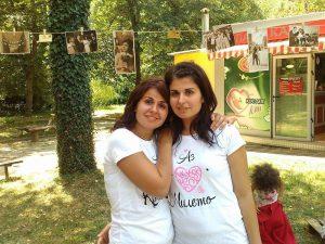 Краси и Миле - тениски за сестри Аз Обичам персонализирани с име