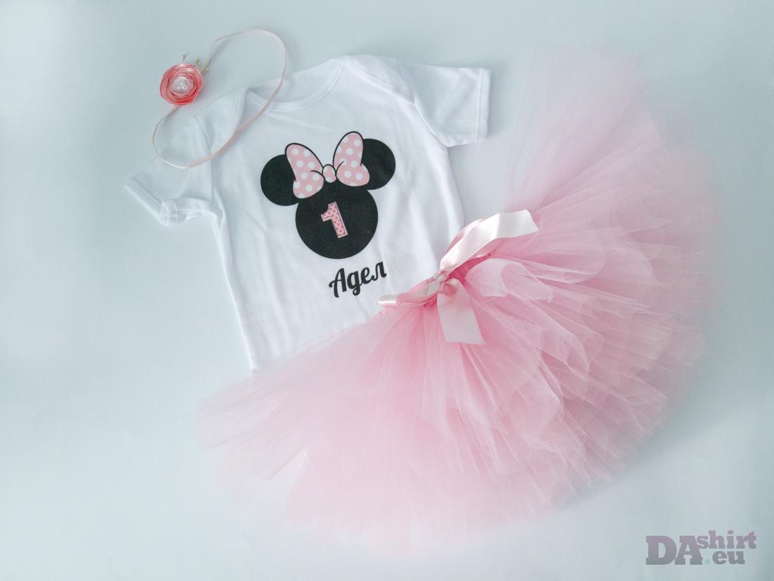 Minnie Mouse туту комплект в бледо розово
