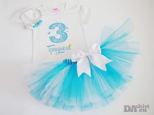 Туту и блузка за рожден ден с име в бяло и синьо - Грациела
