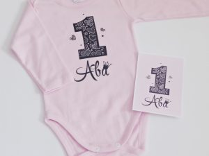 Блуза за рожден ден в розово и черно със сърца