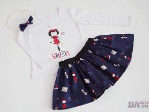 Детски комплект Червената Шапчица - пола и блуза с име