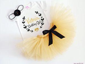Комплект birthday girl в златно и черно с името на детето