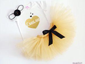 Комплект Златно Сърце с щампа с името на детето