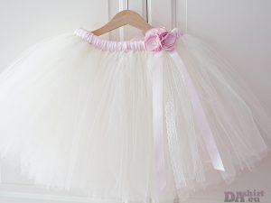 Туту пола шаферка в екрю и бледо розово