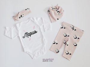 Бебешки комплект за изписване от родилното за момиче с името на детето Панди