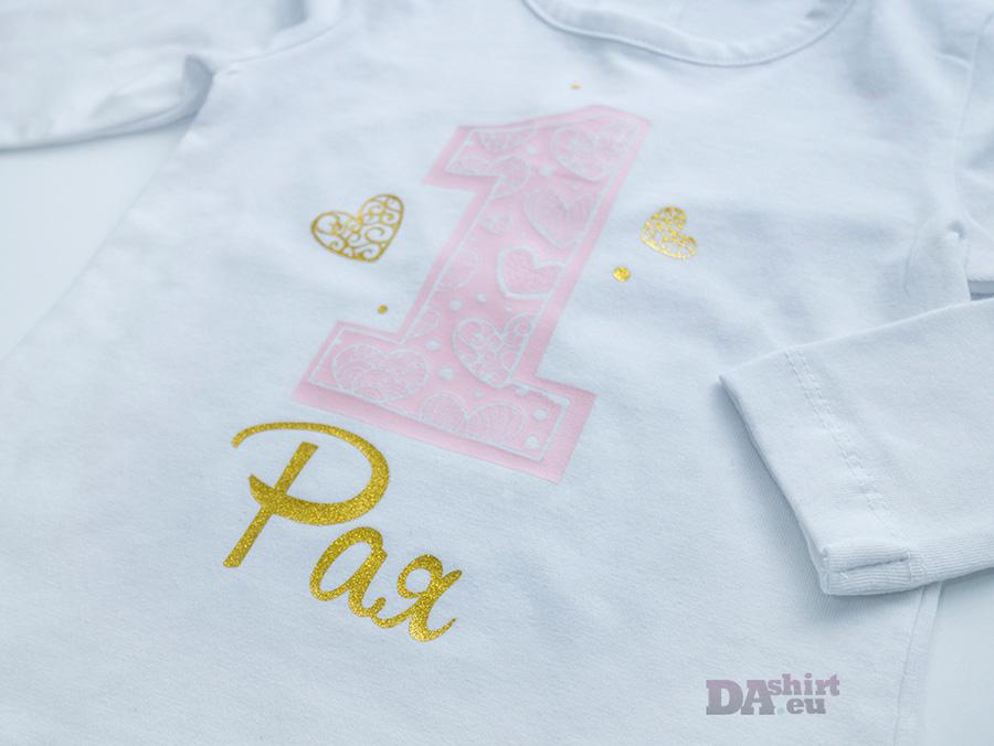 детска блуза за момиче в златно и бледо розово