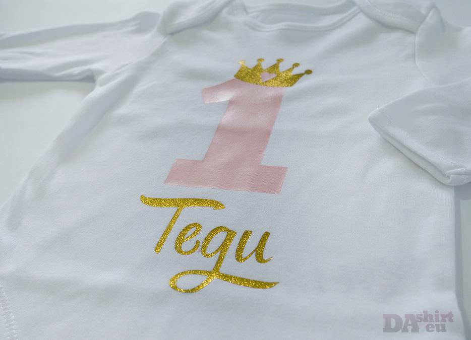 Детска блуза за рожден ден в златно и бледорозово