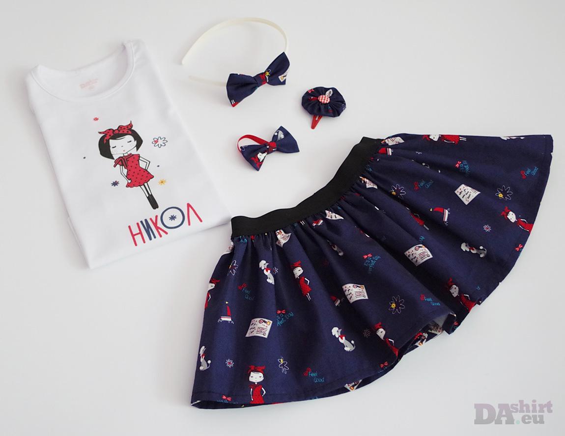 Детска пола и блузка с име момичето в червено