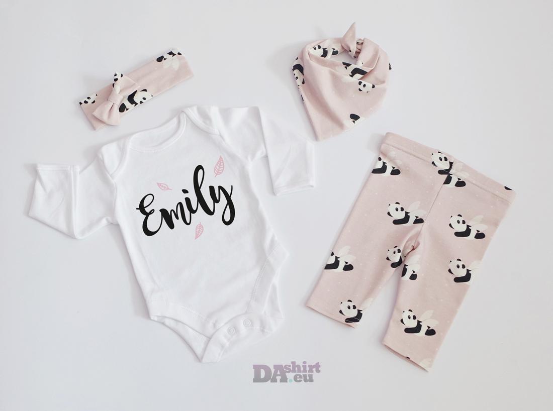 Персонализиран бебешки комплект за момиче с име Малки листа