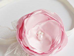 Лента за коса в екрю и бледо розово