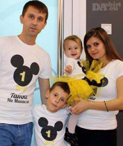 Семейни блузки с надпис Мини и Мики Маус