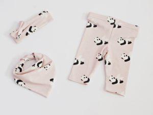 Бебешки клин и бандана Панди - бебешки комплект