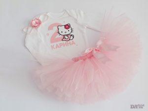 Бебешки комплект с Hello Kitty в розово