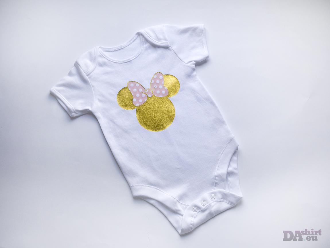 Бебешко боди Мини Маус в златно и розово