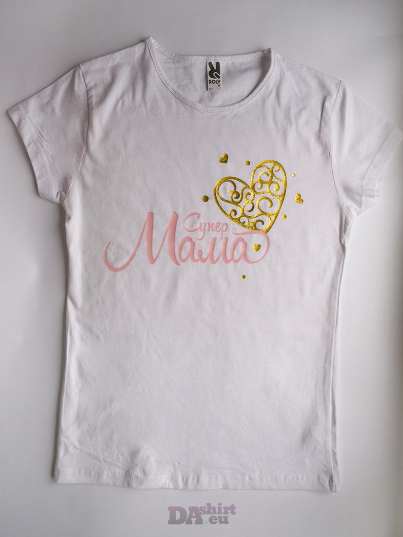 Блуза за мама с надпис Супер Мама в златно и розово