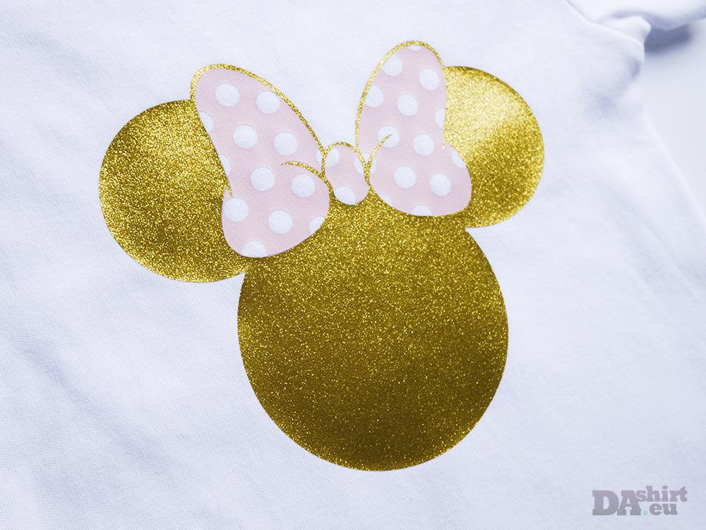Блуза за рожден ден с Minnie Mouse в златно и розово