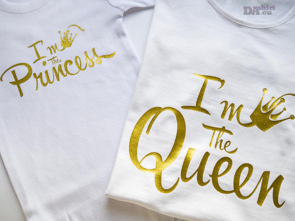 Блузки мама и аз в златно с надпи Princess и Queen