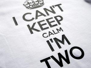 Тениска за втори рожден ден с надпис Can't keep calm