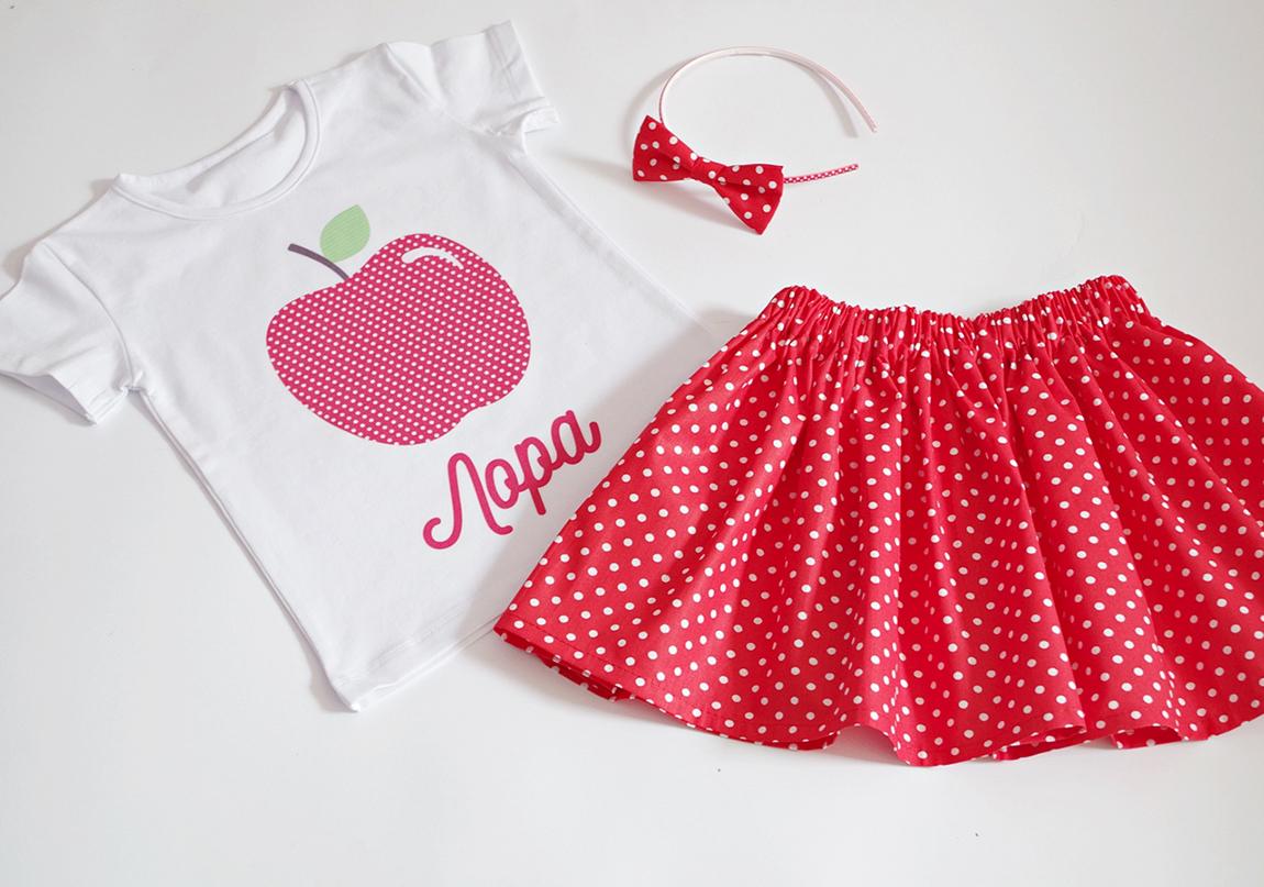 детски комплект ябълка и пола на точки в червено