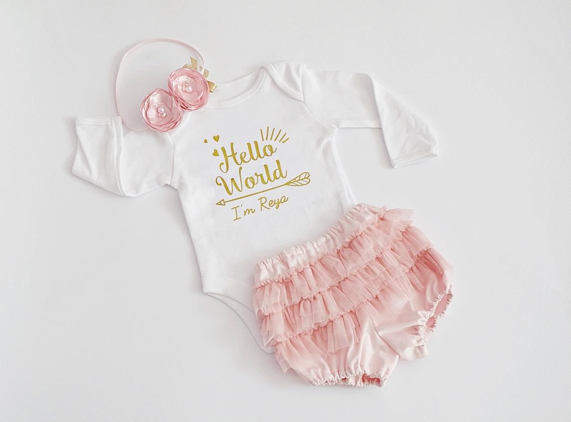 Комплект за новородено Hello World с името на бебето