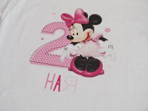 Блуза с име и години Мини Маус в бледо розово
