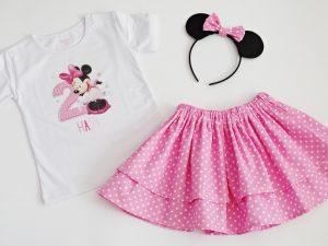 Детски комплект Мини Маус с пола на точки в бяло и розово