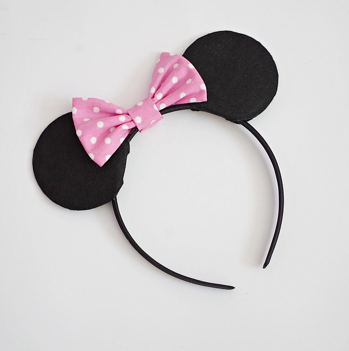 Диадема с уши мини маус в розово на бели точки