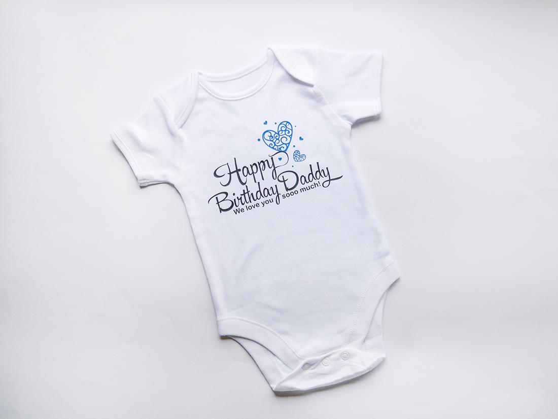 бебешко боди с надпис Happy Birthday Daddy