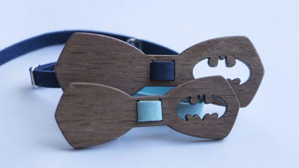 Комплект дървени папионки за баща и дете с батман