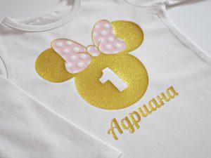 блузка мини маус с име и години в златно и розово