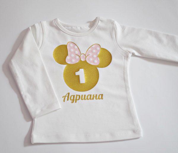 детска блуза minnie mouse в розово и златен глитер